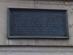 Bridewell Palace plaque. Photograph by sleepymyf