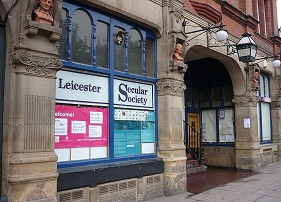 Leicester Secular Society sign in the window of Leicester Secular Hall. Photograph by George Jelliss